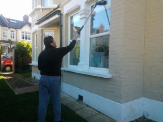 cleaning the windows in Bruce Grove
